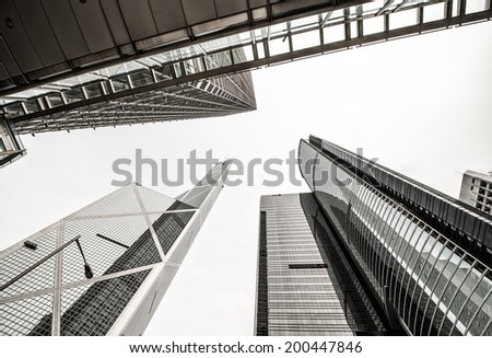 Group of Office Skyscrapers as seen from street level. - stock photo
