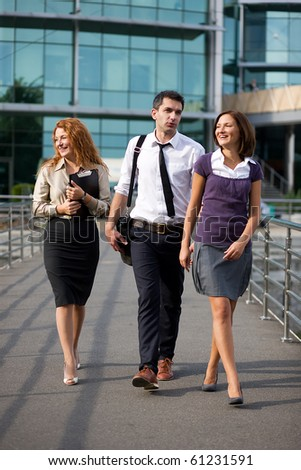 Group of office walk  outdoor - stock photo