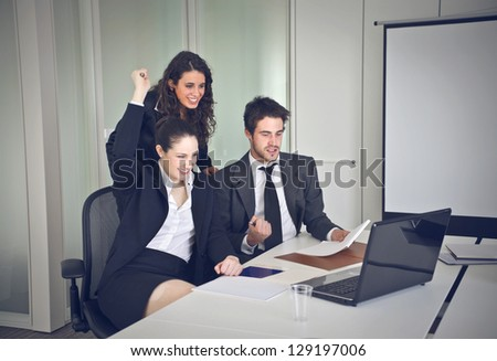 group of office workers - stock photo