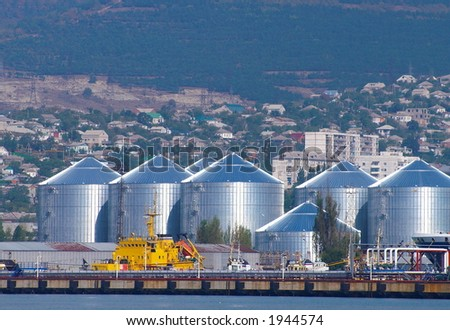 Group of oil tank in port - stock photo