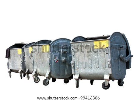 Group of old metal garbage or trash containers.Isolated on white background - stock photo