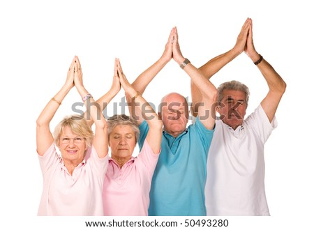 Group of older mature people doing yoga exercises, isolated on white background