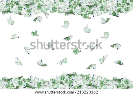 Group of one hundred euro banknotes flying and falling down, isolated on white background. - stock photo
