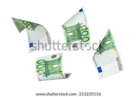 Group of one hundred euro money banknotes flying, isolated on white background.
