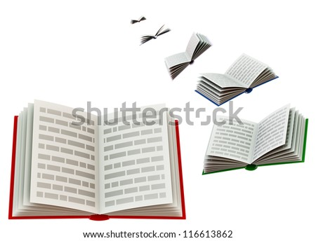 Group of open school books for education - stock photo
