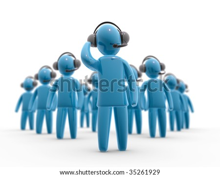 Group of operators with headset. Concept of communication and assistance. - stock photo