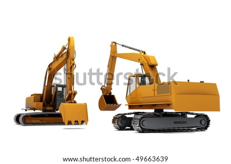 Group of Orange diggers isolated on white background