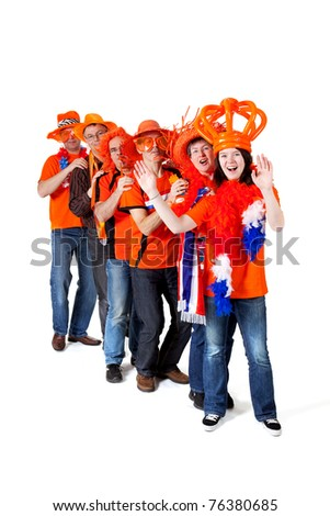Group of orange Dutch soccer fans over white background