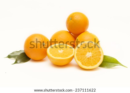 Group of oranges, Group of oranges isolated on white background - stock photo