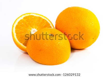 Group of oranges on white background.