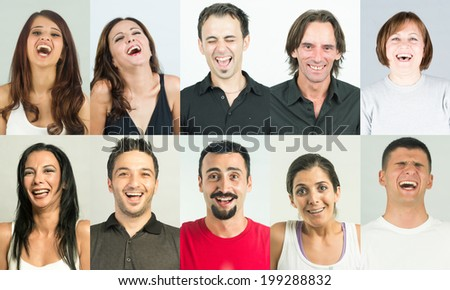 Group of  ordinary people with big smile and laughter, all have cheerful expression and having fun. Several headshots combined in collage - stock photo