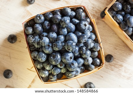 Group of Organic Blueberries in a Basket