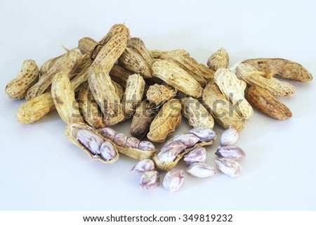 Group of Peanuts  on white background / Group of Peanuts