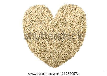Group of Pearl barley close up on the white - stock photo