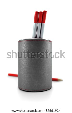 Group of pencils in a container with blur red pencil in background.