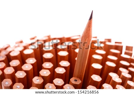 Group of pencils on white background