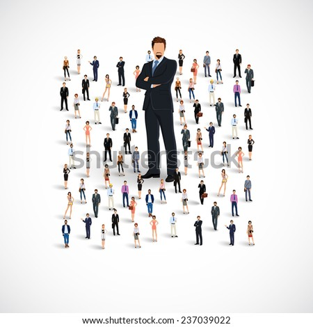 Group of people adult professionals business team with huge figure of young man  illustration - stock photo