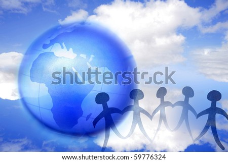 Group of people and globe