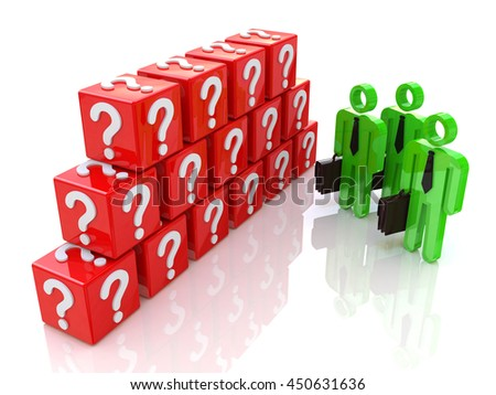 Group of people and question mark. 3d rendered illustration in the design of information related to the problems and issues. 3d illustration - stock photo