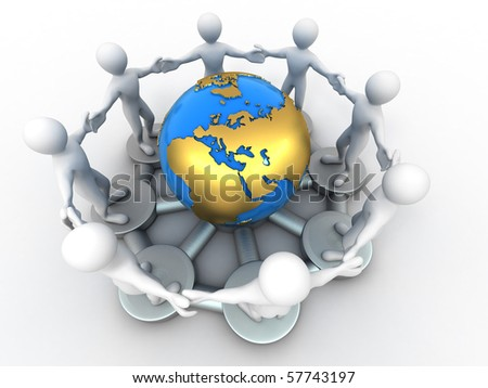Group of people around of earth. 3d