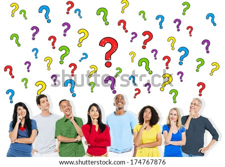 Group of People Asking Questions - stock photo