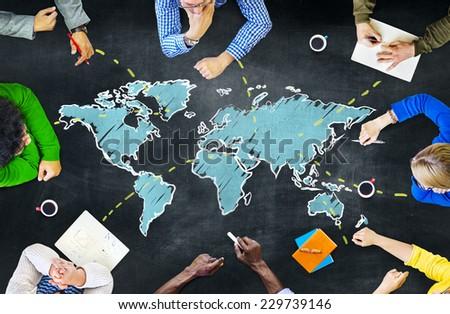 Group of People Blackboard Global Communications Concept - stock photo