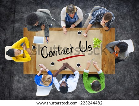 Group of People Brainstorming about Contact Us Concepts - stock photo
