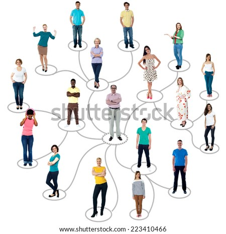 Group of people connected in social network, over white - stock photo
