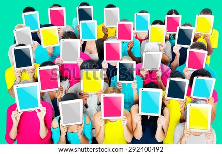 Group of People Digital Tablet Networking Technology Concept - stock photo