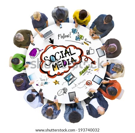 Group of People Discussing Social Media - stock photo