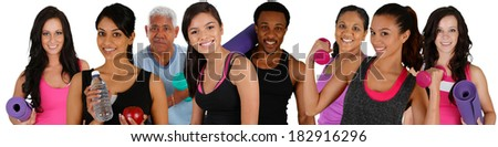 Group of people doing a workout while at the gym - stock photo