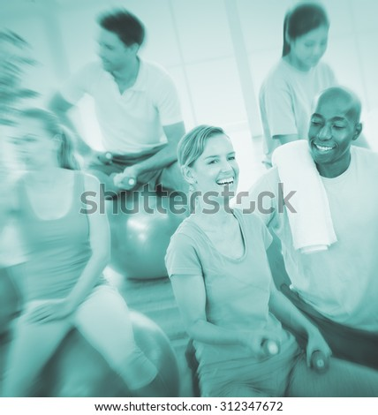Group of People Exercising Fitness Wellbeing Concept - stock photo