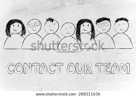 group of people expressing happiness and diversity, contact our team (customer service concept)