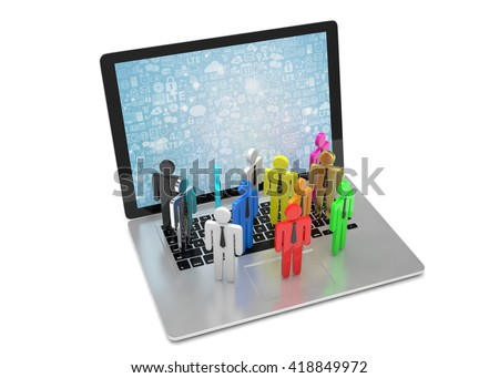 group of people figures on laptop, 3d render - stock photo