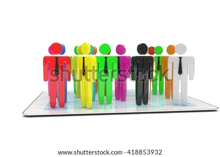 group of people figures on tablet PC. 3d rendering.