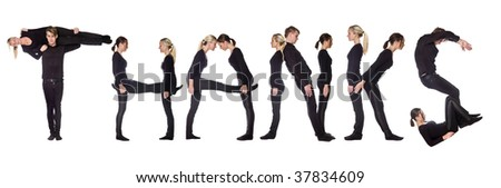 Group of people forming the word 'THANKS', isolated on white background. - stock photo