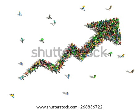 group of people gathered together in the shape of growing graph arrow - stock photo