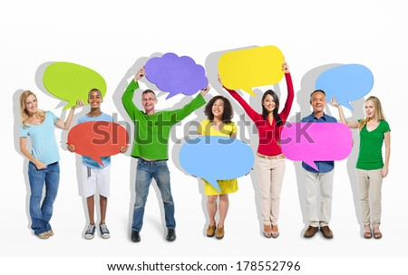 Group of People Giving Thoughts and Ideas - stock photo