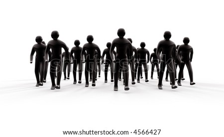 Group of people going forward with shadows - stock photo