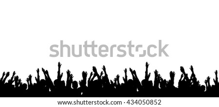 Group of people hands up illustration - stock photo
