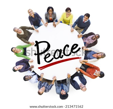 Group of People Holding Hands Around Letter Peace - stock photo