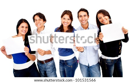 Group of people holding small banners - isolated over white - stock photo