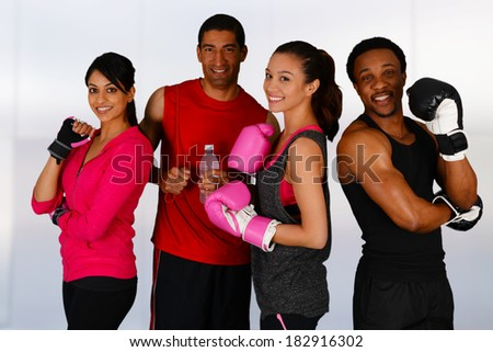 Group of people in a boxing class - stock photo
