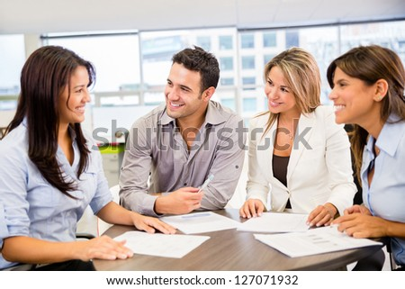 Group of people in a business meeting at the office - stock photo