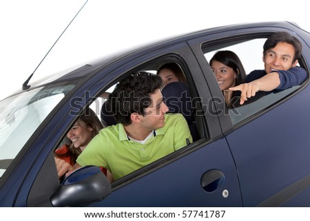 Group of people in a car - isolated over a white background - stock photo
