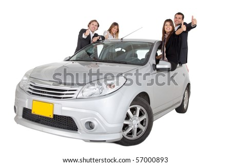 Group of people in a car with thumbs up isolated over a white background - stock photo