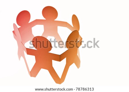 Group of people in a circle on plain background