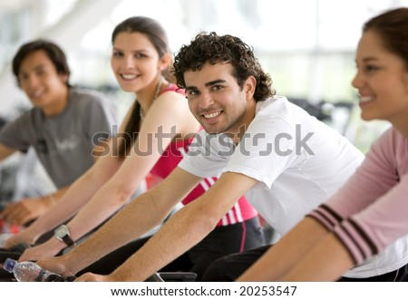 group of people in a gym - stock photo