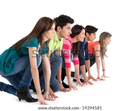Group of people in a racing position ready to race ? isolated - stock photo