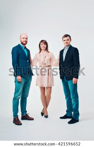 group of people in business suits on white background
